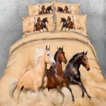 Kids Brown Black and Sandy Brown Horse Print Wild Animal Themed 3D Design Twin, Full, Queen, King Size Bedding Sets