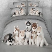Hipster Gray Black and White Husky Dog Print Cute Animal Friend Twin, Full, Queen, King Size Bedding Sets for Kids