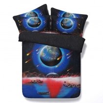 Boutique Blue Black and Red Planet and Meteor Shower Print 3D Design Unique Twin, Full, Queen, King Size Bedding Sets