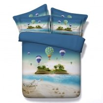 Vogue Blue Green and White Island Print Tropical Hawaiian Style Beach Themed Twin, Full, Queen, King Size Bedding Sets