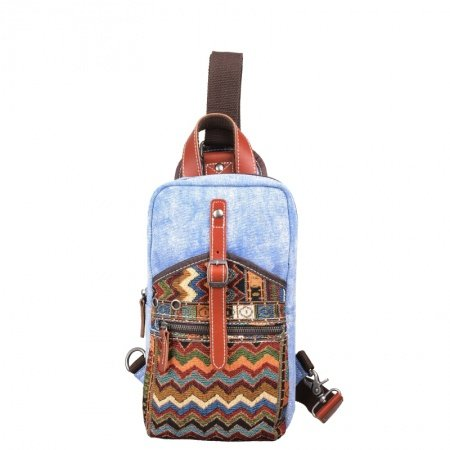 Bohemian Gypsy Style Colorful Canvas with Leather Trim Crossbody Shoulder Chest Bag Aztec Tribal Chevron Stripe Print Sling Travel Backpack