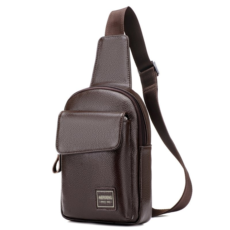 Maroon Brown Distressed Patent Leather Men Crossbody Shoulder Chest Bag Vintage Sewing Pattern Zipper Casual Travel Flap Sling Backpack