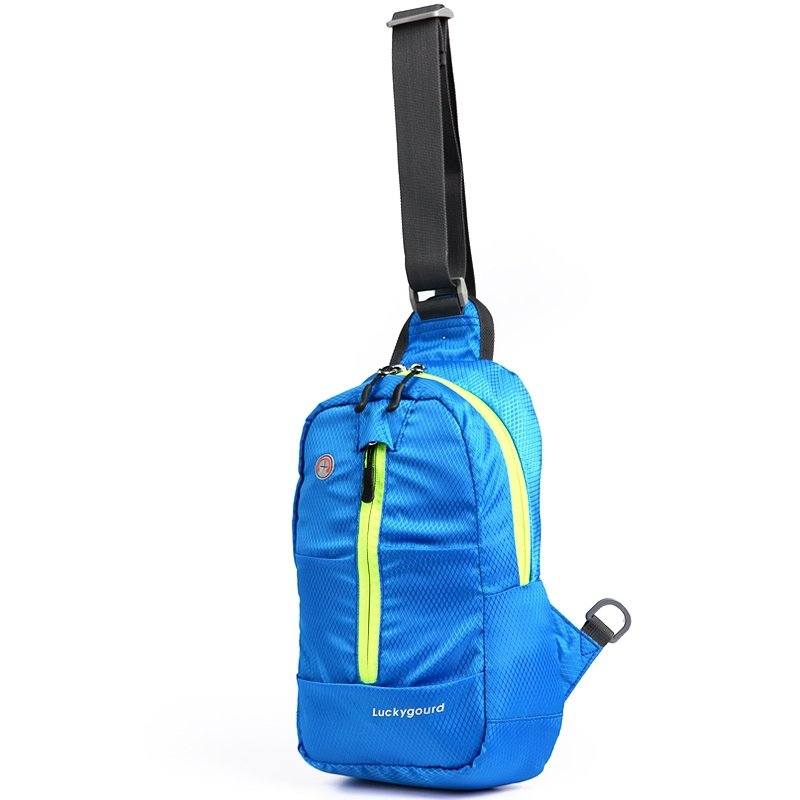 Sapphire Blue Oxford Women Small Crossbody Shoulder Chest Bag Boutique Grid Plaid Print Casual Travel Hiking Cycling Sling Backpack