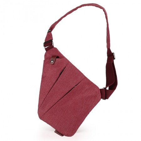 Vintage Burgundy Red Waxed Canvas Women Small Crossbody Shoulder Chest Bag Hipster Anti Theft Zipper Travel Hiking Cycling Sling Backpack