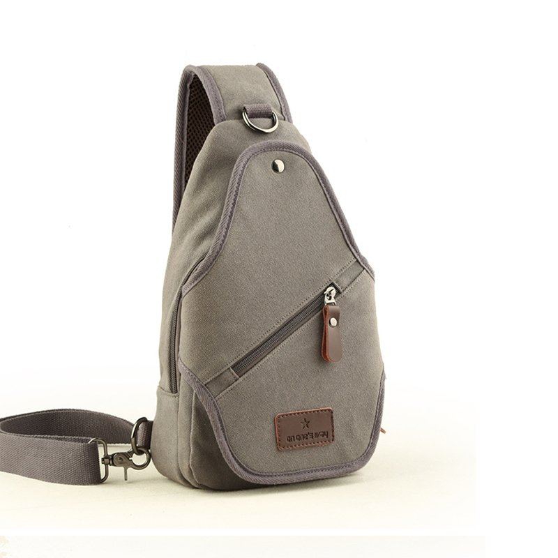 Vintage Light Gray Waxed Canvas Men Small Crossbody Shoulder Chest Bag Sturdy Sewing Pattern Zipper Travel Hiking Cycling Sling Backpack