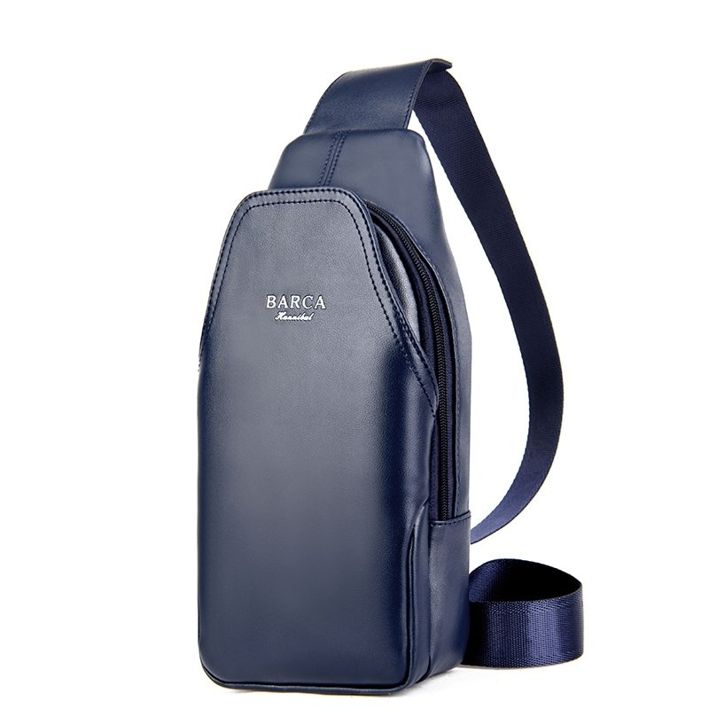 Dark Blue Patent Leather Boys Mini Crossbody Shoulder Chest Bag Vintage Sewing Pattern Zipper Travel Hiking Cycling Sling Backpack