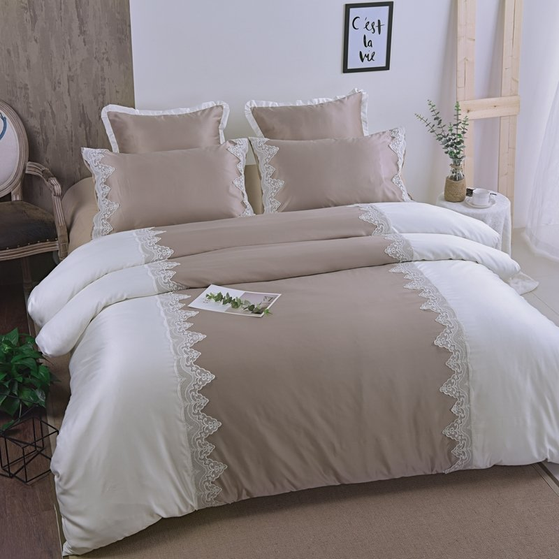 Simply Shabby Chic Taupe and White Vintage Victorian Lace Romantic Elegant Feminine Adults Cotton Twin, Full, Queen Size Bedding Sets