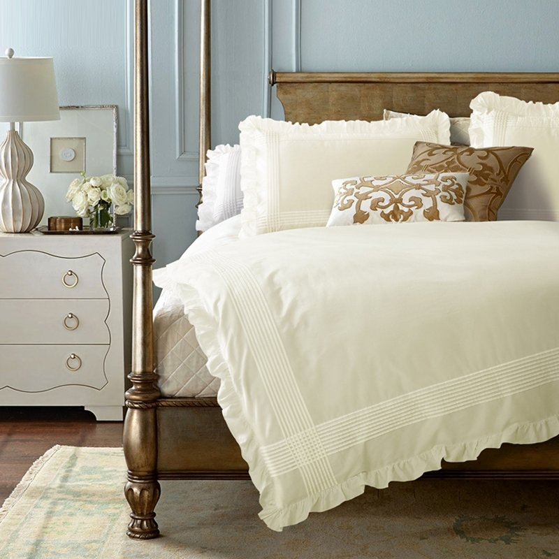 Solid Cream Embroidered Pinstripe Pattern Simply Shabby Chic Ruffle Scalloped Romantic Elegant Adults Full, Queen Size Bedding Sets