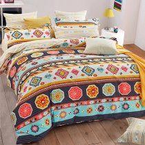 Aqua Orange Yellow and Dark Blue Colorful Gypsy Bohemian Style Tribal and Striped Print Unique Full, Queen Size Bedding Sets