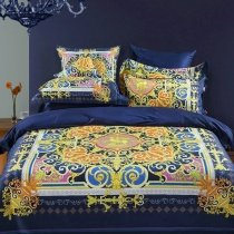 Bohemian Style Dark Blue Yellow Orange and Pink Vintage Gothic Pattern Angle Horse Tribal Scroll Print Full, Queen Size Bedding Sets