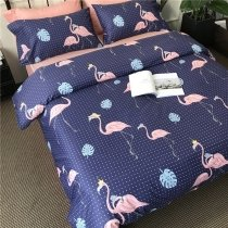 Dark Blue Aqua and Blush Pink Fun Flamingo Leaf Polka Dot Print Animal Themed Tropical Hawaiian Girls Twin, Full, Queen Size Bedding Sets