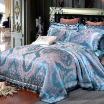 Boutique Pastel Blue and Gray Gothic Pattern Exotic Bohemian Style Jacquard Satin Full, Queen Size Bedding Sets