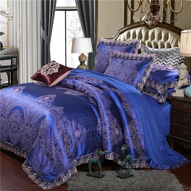 Sapphire Blue And Gold Indian Pattern, Royal Blue And Gold Bedding Sets