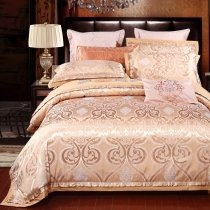 Gold Rococo Style Ethnic Inspired Royal Style Luxurious Noble Excellence Jacquard Satin Full, Queen Size Bedding Sets