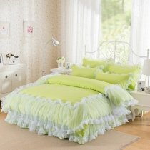 Lime Green and White Lace Girls Ruffle Pom Pom Style Sophisticated Elegant Feminine Feel Twin, Full, Queen Size Bedding Sets