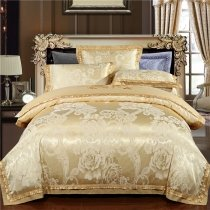 Sparkle Gold Floral and Paisley Pop Modern Chic Fancy Royal Style Jacquard Satin Full, Queen Size Bedding Sets