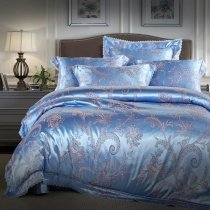 Rustic Country Chic Steel Blue and Silver Fern Leaf Pattern Unique Sequin Full, Queen Size Bedding Sets