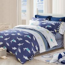 Navy Blue White and Gray Great White Shark Print Ocean Themed Twin, Full Size Bedding Sets