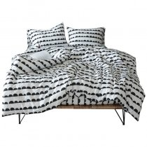 Black and White Semicircle Polka Dot and Striped Print Hipster Full, Queen Size Bedding Sets