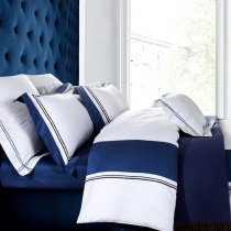 Noble Excellence Royal Blue and White Luxury Simply Chic Egyptian Cotton Full, Queen Size Bedding Sets