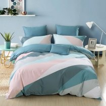 Abstract Geometric Pattern Modern Chic Masculine Style Full, Queen Size Bedding Sets in Cadet Blue Pale Pink and White