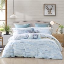 Trippy Style Striped Print Shabby Chic Abstract Design Full, Queen Size Bedding Sets in Light Blue Gray and Beige