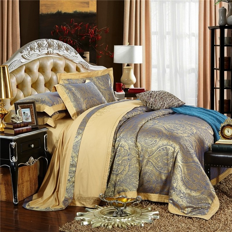 vintage glam paisley pop gothic pattern full queen size bedding sets. Black Bedroom Furniture Sets. Home Design Ideas