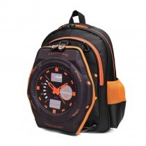 Black and Orange Oxford Pupil Boys Preppy Style Book Bag Monogrammed Clock Pattern Zipper Kids School Campus Backpack