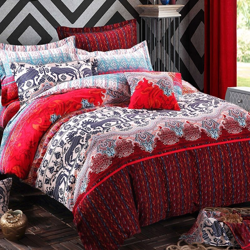 Dark Red Black White And Blue Paisley Deer Print Native American Themed Moose Crossing Full Queen Size Bedding Sets