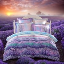 Purple Blue and Green Provence Garden Images Lavender Flower Print Full, Queen Size Luxury Satin Bedding Sets