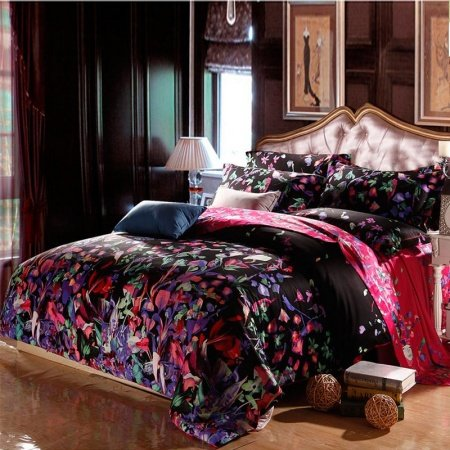 Black Purple and Red Green Country Floral Waverly Toile Full, Queen Size Bedding Sets