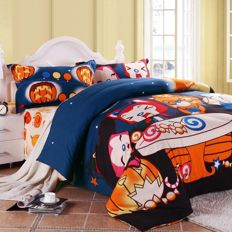Cobalt Blue Black and Orange Happy Halloween Themed Nightmare Before Christmas Full, Queen Size Kids Bedding Sets
