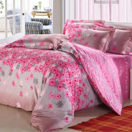 Pink and Gray Girls Flower Print Princess Themed Feminine Feel 100% Cotton Full, Queen Size Bedding Sets