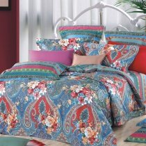 Blue Red and Brown Secret Garden Scene Oriental Blossom and Western Paisley Print Full, Queen Size Bedding