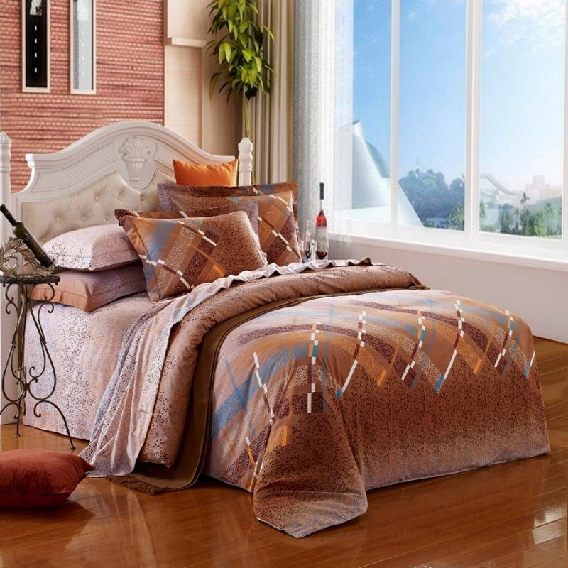 Chocolate Brown and Blue Abstract Modern Plaid Print Full, Queen Size 100% Cotton Bedding Sets