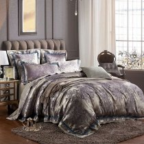 Grey and Purple Paisley Traditional Western Royal Pattern Shabby Chic Full, Queen Size Bedding Sets