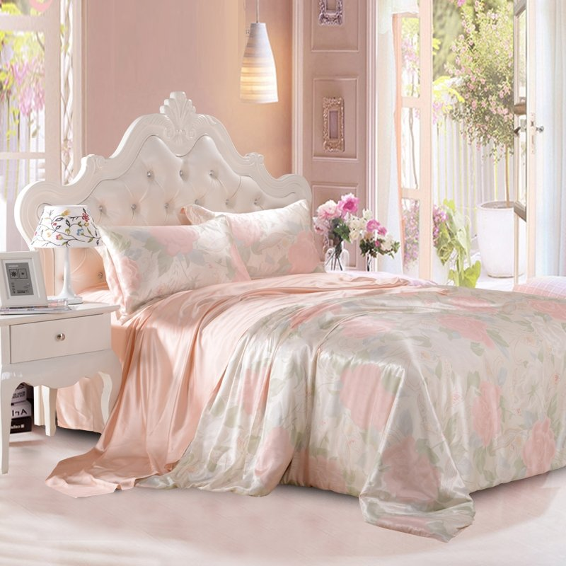 Green and Pink Gorgeous Retro Rose Garden Images 100% Mulberry Silk Full, Queen Size Bedding Sets
