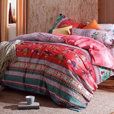 Red Pink and Green Stripe and Bohemian Tribal Totem Print Luxury Cotton Full, Queen Size Bedding Sets