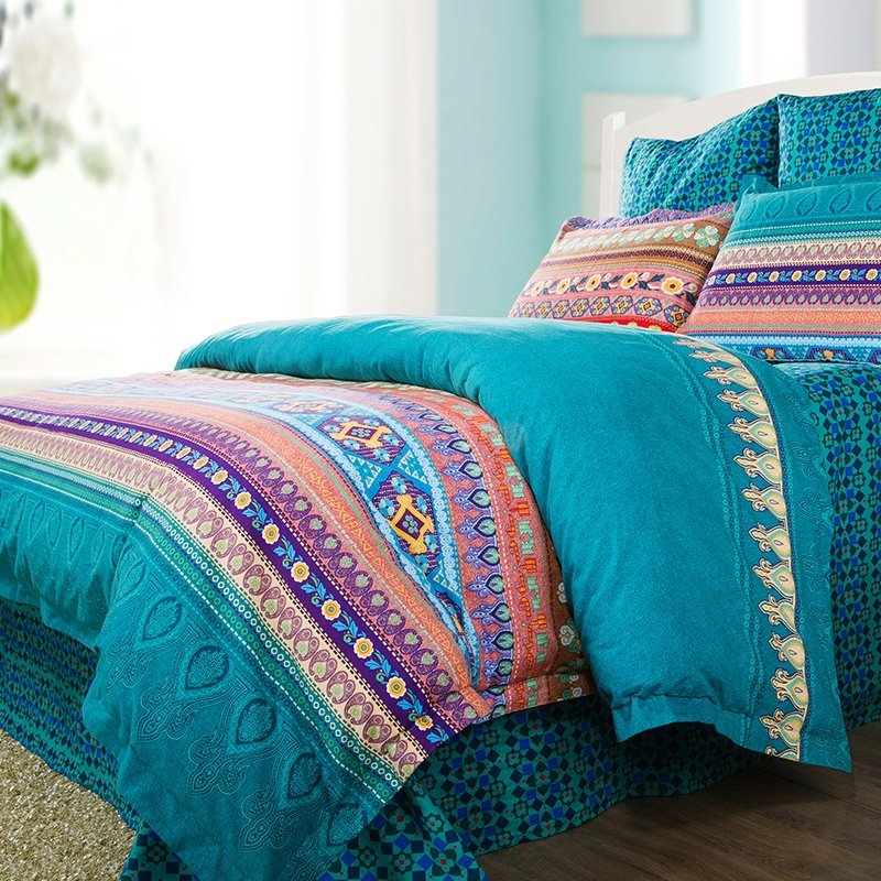 Very best Teal Green Purple and Coral Red Bohemian Indian Tribal Stripe  CW63