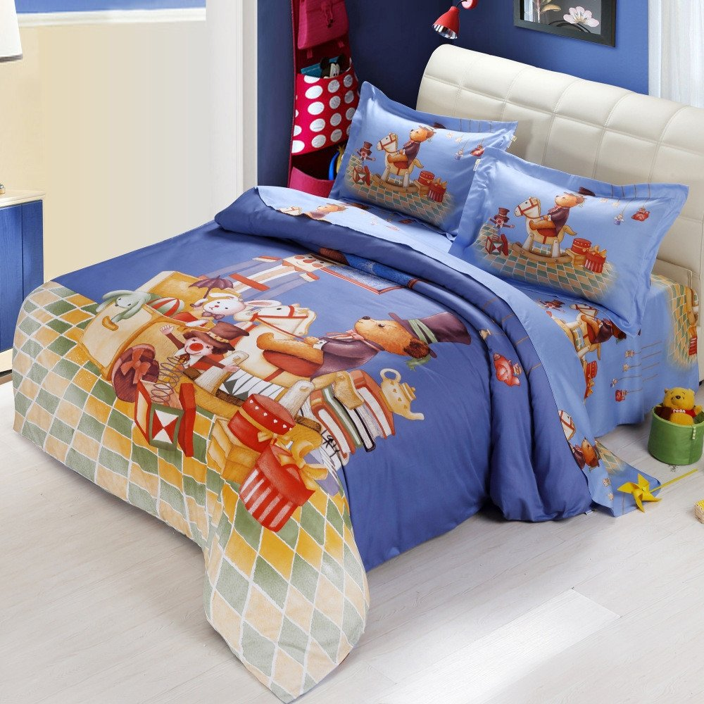 Navy Blue and Rust Orange Happy Hobbyhorse Print Christmas Holiday Themed Full Size Bedding Sets for Kids