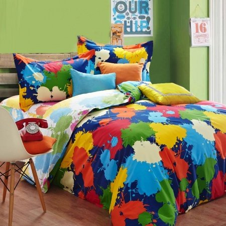 Sapphire Blue Yellow and Orange Colorful Splatter Paint Unique Graffiti Print Modern Chic Full, Queen Size Bedding Sets