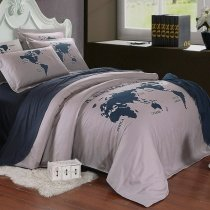 World map bedding sets enjoybedding dark blue and gray the world map nautical themed 5 star hotel style 100 cotton gumiabroncs Images