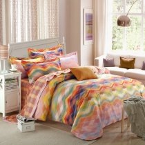Red Blue and Yellow Colorful Ocean Wave Print Vogue Bohemian ( BOHO ) Style Unique 100% Brushed Cotton Full, Queen Size Bedding Sets