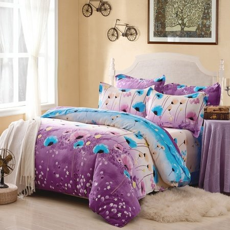 Sky Blue Beige and Lavender Water Lily Flower Print Tropical Plant Country Chic Rustic Style Full, Queen Size Bedding Sets