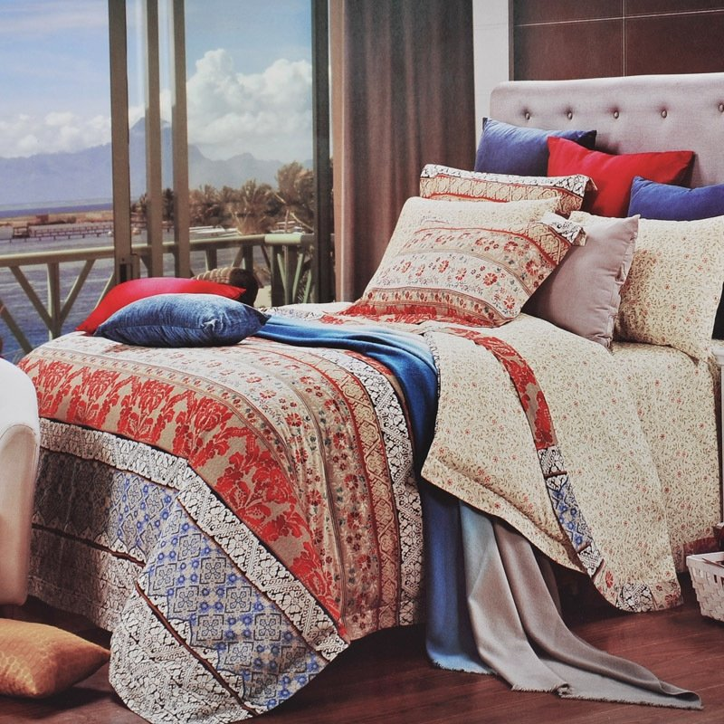 Ruby Red Beige and Brown Classic and Luxury Bohemian ( BOHO ) Style Vintage Chic 100% Egyptian Cotton Full, Queen Size Bedding Sets