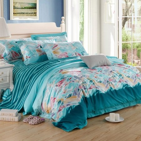 Aqua Teal and Pink Watercolor Patchwork Graffiti and Candy Stripe Unique Full, Queen Size 100% Egyptian Cotton Bedding Sets