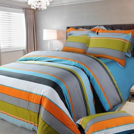 Orange White and Blue Multi-color Rugby Stripe and Pinstripe Fashion Boys 100% Cotton Satin Full, Queen Size Bedding Sets