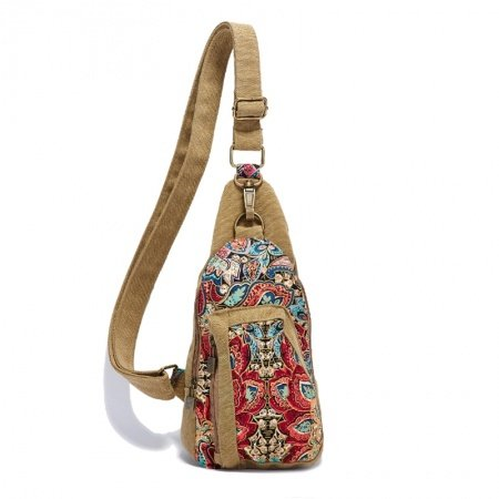 Camel Brown Red and Blue Bohemian Style Paisley Pattern Vintage Chic Western Tribal Canvas Small Zipper Girls Shoulder, Crossbody Messenger Bag