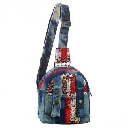 Oxford Blue Red and Brown Patchwork Jean Vintage Chic Zipper Small Casual and Travel Personalized Girls Backpack, Single Shoulder Bag