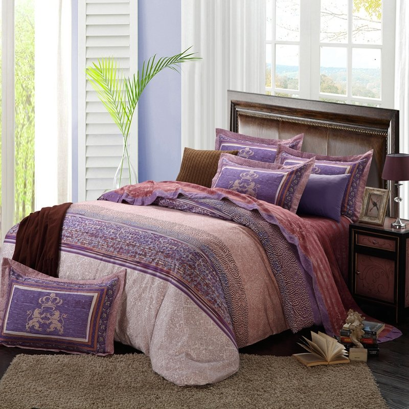 Dark Purple Brown and Beige Tribal Stripe Gypsy Themed Western Style Shabby Chic 100% Brushed Cotton Full, Queen Size Bedding Sets
